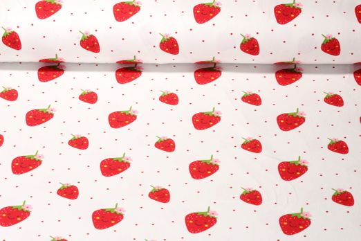 Jersey gemustert - Happy Strawberry Weiß Multicolor