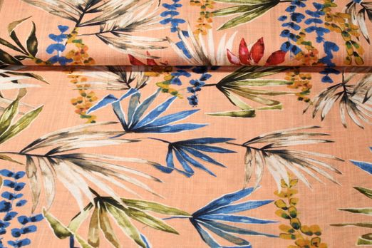 Kleider und Blusenstoff - Blättermix Aprikot Multicolor