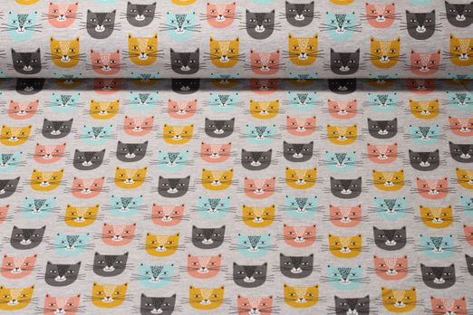 Sommersweat  - Smiley Cat Grau Melange Multicolor