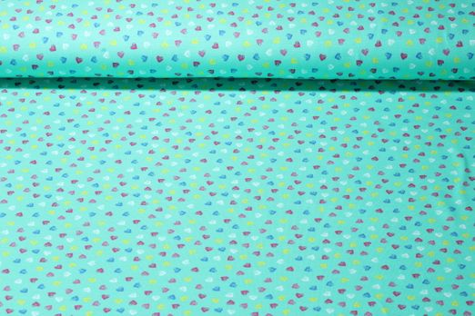 Jersey gemustert - Lily Hearts Mint Multicolor