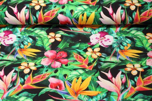 Jersey gemustert -  Digitalprint Orchidee im Dschungel Schwarz Multicolor