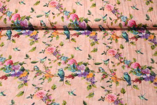 Kleider und Blusenstoff - Vögel und Rosen Apricot Multicolor