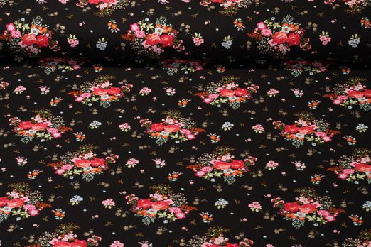 Jersey gemustert - Glitter Fields Of Flowers Schwarz Multicolor