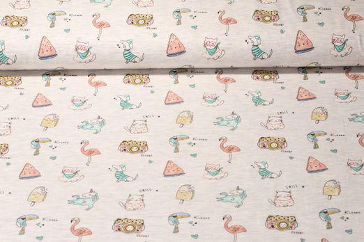 Jersey gemustert - Jolly Animals Grau Melange Multicolor