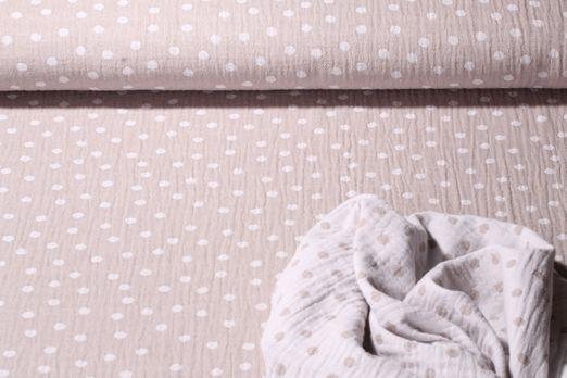 Baumwolle Musselin - Double Gauze Bambino Jacquard Dot Taupe Weiss