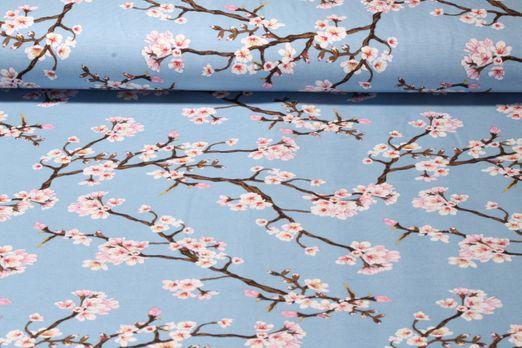 Modal Jersey - Kirschblüten Blau Multicolor