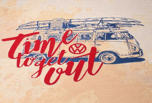 "Canvas Panel - VW Bulli ""Time to get out"" Beige Multicolor"