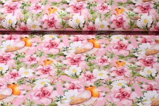 Jersey gemustert - Rotkehlchen Rosa Multicolor