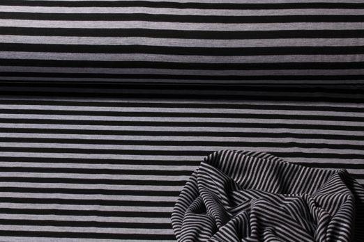 7e658e9d005a20 Jersey gestreift - Stripes Doubleface Grau Schwarz