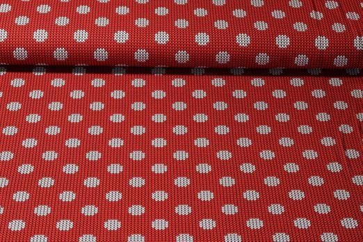 Jersey gemustert - Strickoptik Dots Rot Multicolor