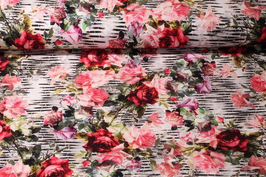 Viskosejersey - Bunte Rosenvielfalt Offwhite Multicolor