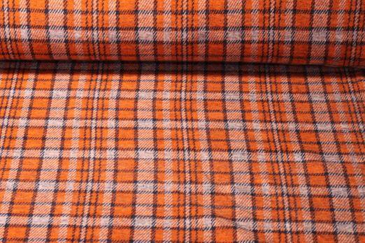 Kuschel Jacquard Sweat Max - Karo Muster Orange Navy  by Traumbeere
