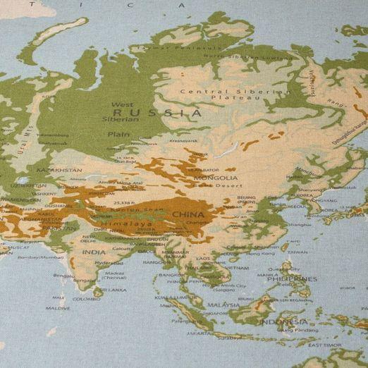 Canvas gemustert - Weltkarte Leinenlook Blau Multicolor