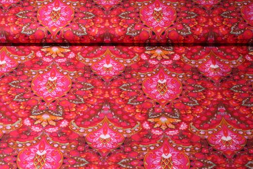 Baumwolle gemustert - Indian Summer Rot Multicolor