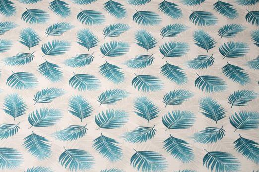 Beschichtete Baumwolle - Palmenwedel Grau Petrol