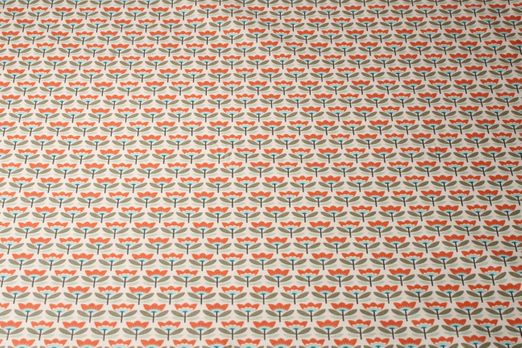 Beschichtete Baumwolle - Tulpen Beige Orange Multicolor