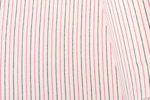 Bündchen geringelt - Streifen Weiss Blau Pink