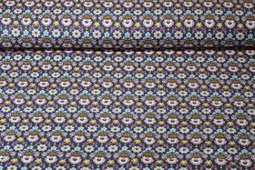 Cord gemustert - Feincord Ornamental Flower Blau Multicolor