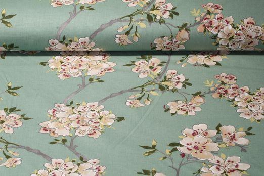 Baumwolle gemustert - Kirschblüte Mint Multicolor