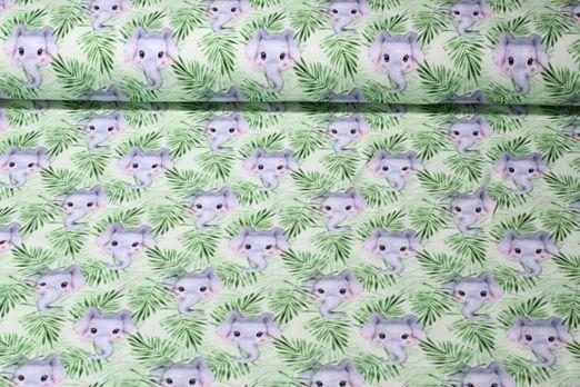 Jersey gemustert - Kleines Elefantenmädchen Digital Print Grün Multicolor