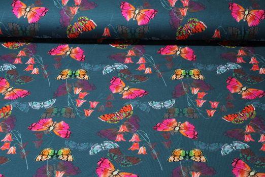 Jersey gemustert - Schmetterlinge Digital Print Petrol Multicolor