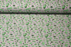 Jersey gemustert - Super Cool Grau Melange Neon Grün