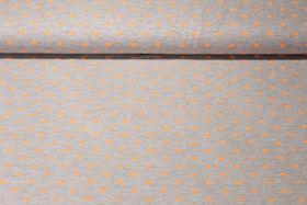 Jersey gemustert - Super Sweet Grau Melange Neon Orange