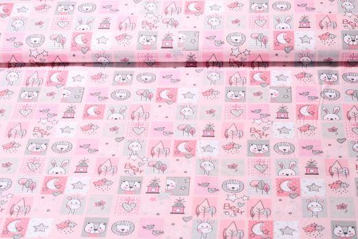 Baumwolle gemustert - Baby Bear Rosa Multicolor