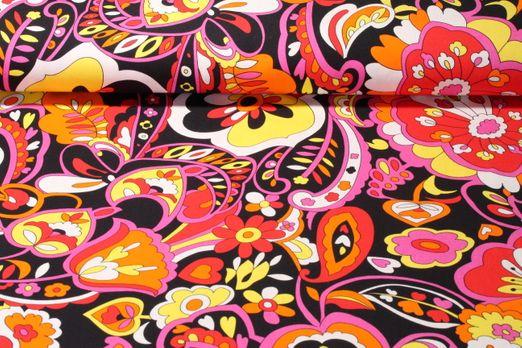 Jersey gemustert - Crazy Flowers Schwarz Multicolor