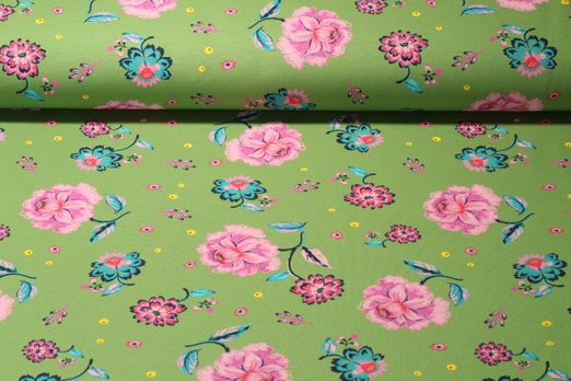 Sommersweat - French Terry Print Blumen Grün Multicolor