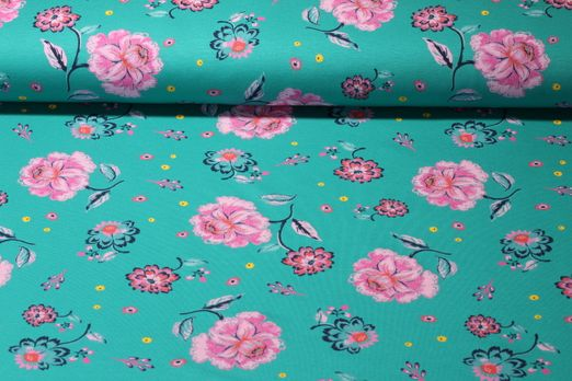 Sommersweat - French Terry Print Blumen Petrol Multicolor