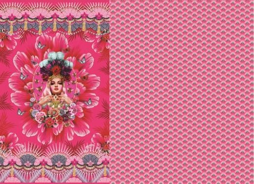 "Jersey gemustert - Digital Panel ""Butterfly Queen"" Pink Multicolor"