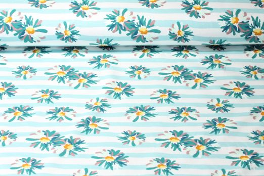 Sommersweat  - French Terry Summer Flowers Daisies Mint Weiss Multicolor