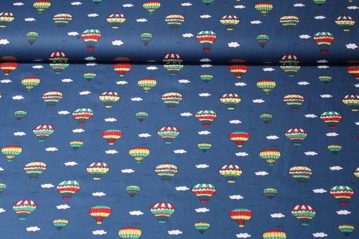 Baumwolle gemustert - Ballonfahrt Blau Multicolor