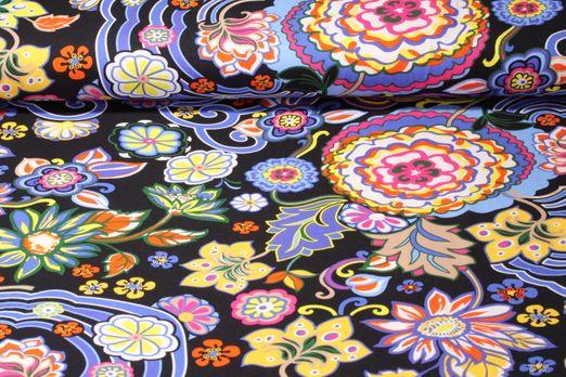 Jersey gemustert - Flower Schwarz Lila Multicolor