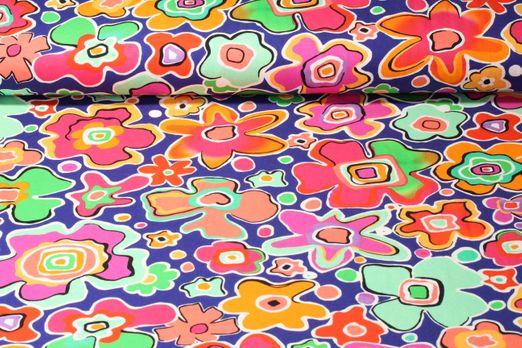 Jersey gemustert - Große Blumen Lila Orange Multicolor