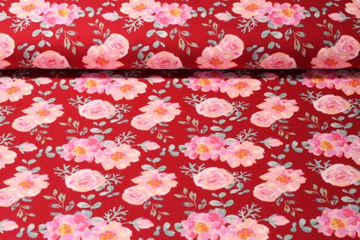 Sommersweat  - French Terry Rosegarden Rot Multicolor