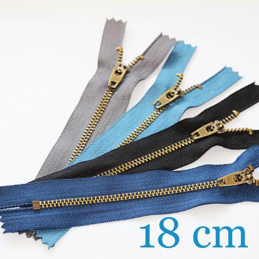 Jeansreißverschluss Metall Messing 18 cm