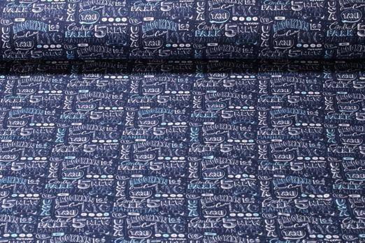 Jersey gemustert - Manhattan Blau Multicolor