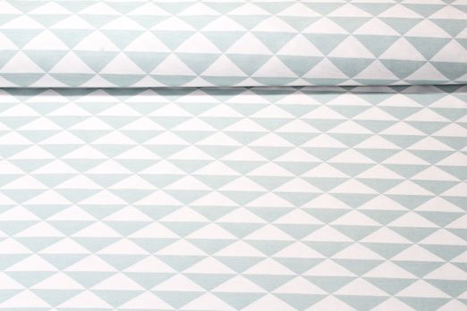 Canvas gemustert - Dreiecke Dusty Mint Weiss