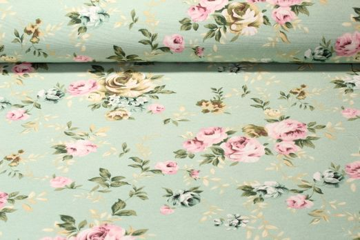 Canvas gemustert - Cottage Rose Mint Multicolor