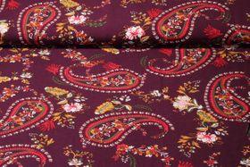 Viskose - Paisley Weinrot Multicolor