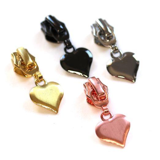 Herz Zipper für metallisierte Reißverschlüsse 4 Stück