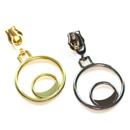 Doppelring Zipper für metallisierte Reißverschlüsse 2 Stück