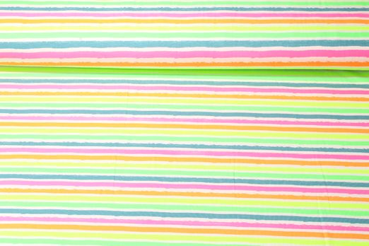 Jersey gestreift - Neon Stripes Weiß Multicolor