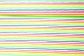 Jersey gestreift - Neon Stripes Weiß Multicolor