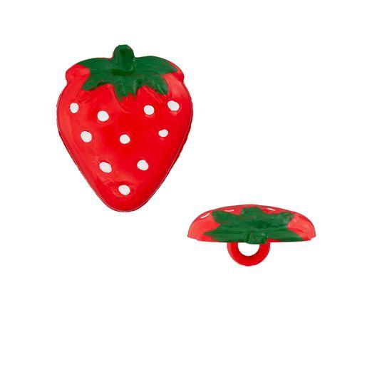 Polyesterknopf Öse Erdbeere 21mm