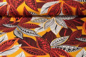 Jersey gemustert - Oriental Leaves Ocker Multicolor