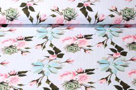 Jersey gemustert - Digital Print Roses and Dots Hellblau Multicolor