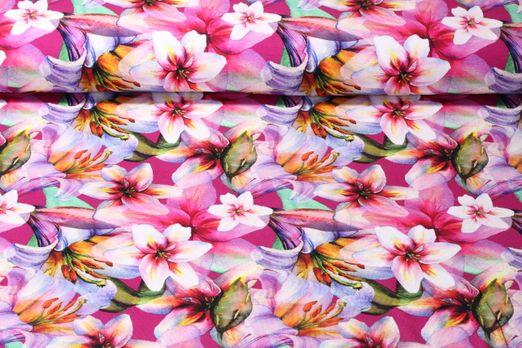 Jersey gemustert-Digitaldruck Blütenmeer Fuchsia Multicolor